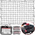 "TireTek Bungee Cargo Net for Pickup Truck Bed- 4' x 6' Stretches to 8' x 12'- Heavy Duty Small 4""x4"" Latex Bungee Net Mesh with 12 Metal Carabiners - Compatible with Ford, Dodge RAM, Chevy, Toyota"