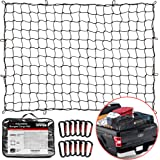 """TireTek Bungee Cargo Net for Pickup Truck Bed- 4' x 6' Stretches to 8' x 12'- Heavy Duty Small 4""""x4"""" Latex Bungee Net…"""