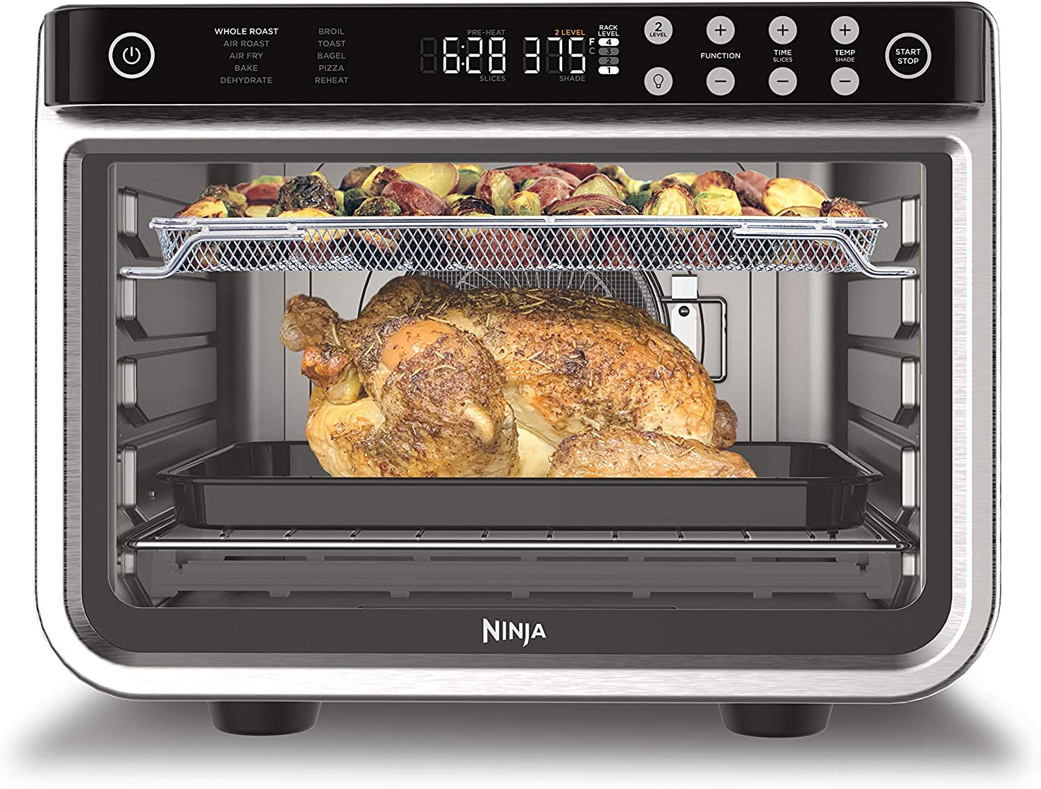 Ninja DT201 Foodi 10-in-1 XL Pro Air Fry Digital Countertop Convection Toaster Oven with Dehydrate and Reheat, 1800 Watts, Stainless Steel Finish