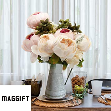 Maggift Artificial Peony Silk Flowers Bouquet Home Wedding Decoration Light Pink