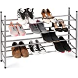 WILSHINE 4 Tier Shoe Rack Organizer, Expandable and Stackable, for Closet/Entryway, 20 Pair, Metal and Silver