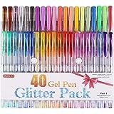Shuttle Art 40 Colors Glitter Gel Pens,Glitter Gel Pen Set for Adult Coloring Books Craft Doodling