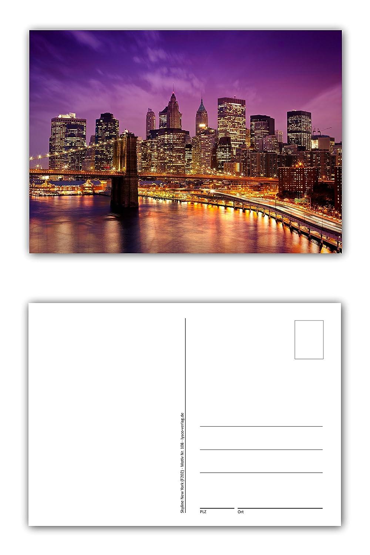 12 Unidades Tarjetas postales New York City Skyline en la puesta ...