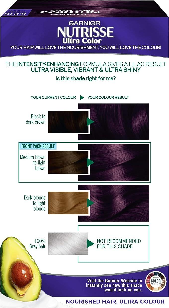 Garnier Nutrisse Tinte para el cabello lila permanente, hasta el 100% de cobertura de cabello gris, con acondicionador de 5 aceites, 5.216 lila ultra ...