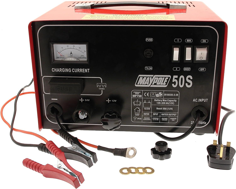 Maypole 750 30A. Cargador de batería de Metal, 12/24V