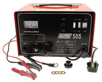 Maypole 750 30A. Cargador de batería de Metal, 12/24 V