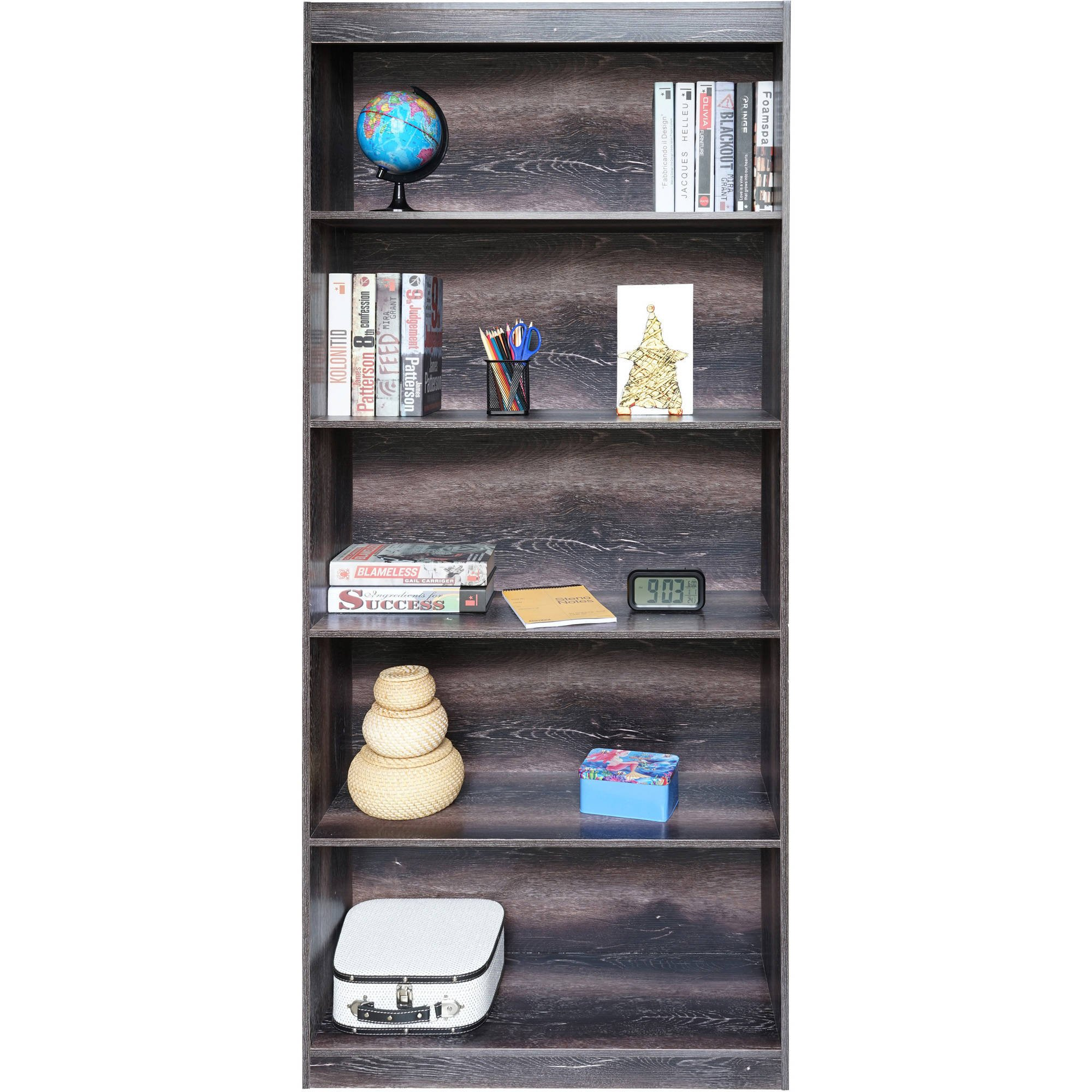 Bookshelf, Bookcase, Sturdy, Durable, Made of Solid Wood, Library, Cabinet, Storage Space, Melamine Veneer Surface, Solid Structure, Home Office, Study Room
