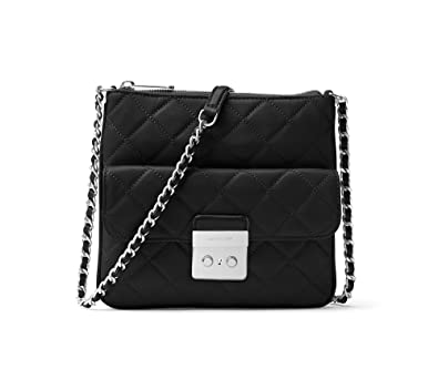 fcfc6d593c8ed MICHAEL Michael Kors Womens Sloan Leather Quilted Crossbody Handbag Black  Small  Handbags  Amazon.com