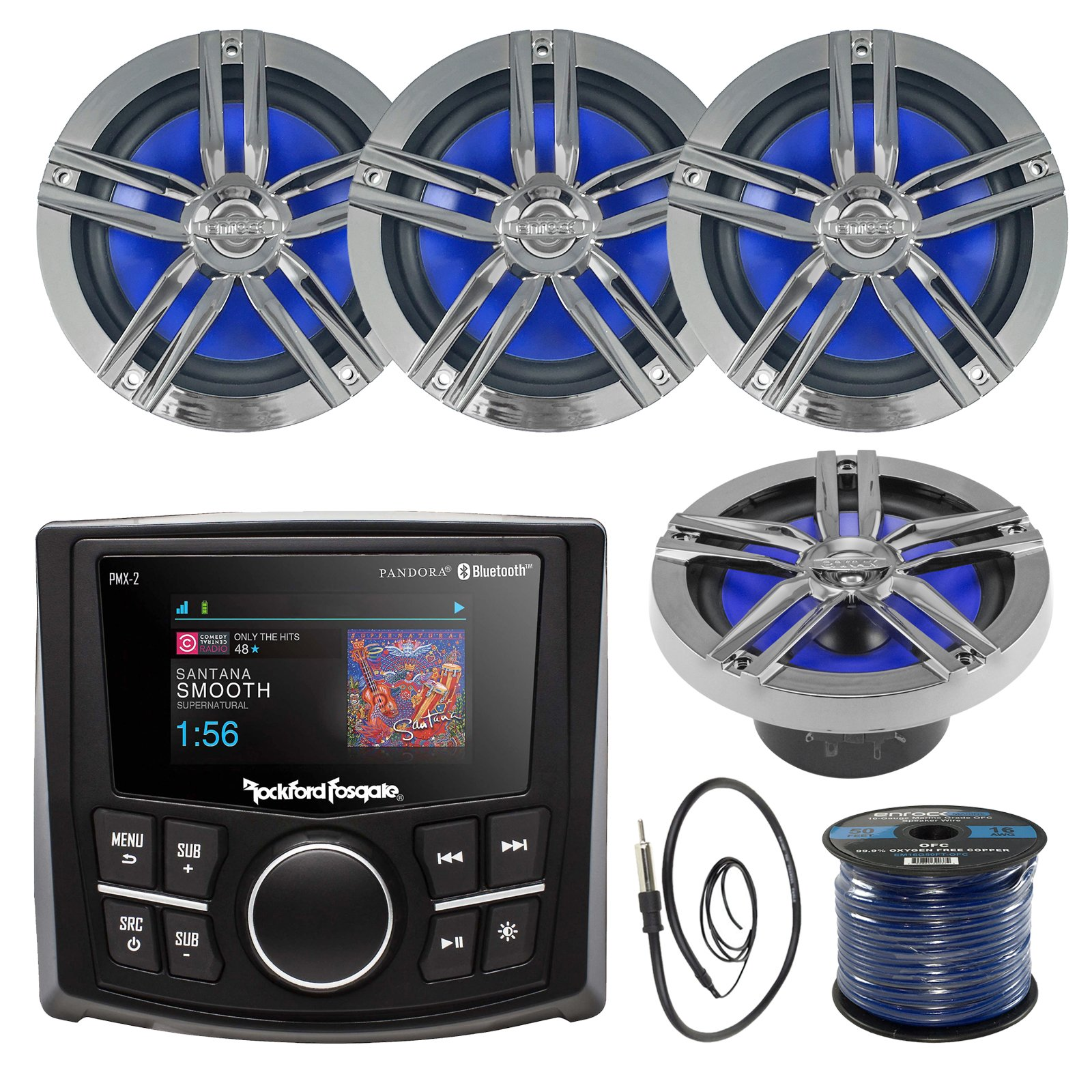 Rockford Fosgate PMX-2 Ultra Compact Bluetooth Marine Boat MP3 Digital Media Receiver Bundle Combo With 4x Enrock Black/Chrome 6.5'' Inch Audio Speaker + 22'' Radio Antenna + 50 Ft Speaker Wire by EnrcokMarineBundle