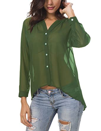 76cc797c Hotiary Women's Button-Down Shirts 3/4 Long Sleeve Vneck Casual Plain Work  Top