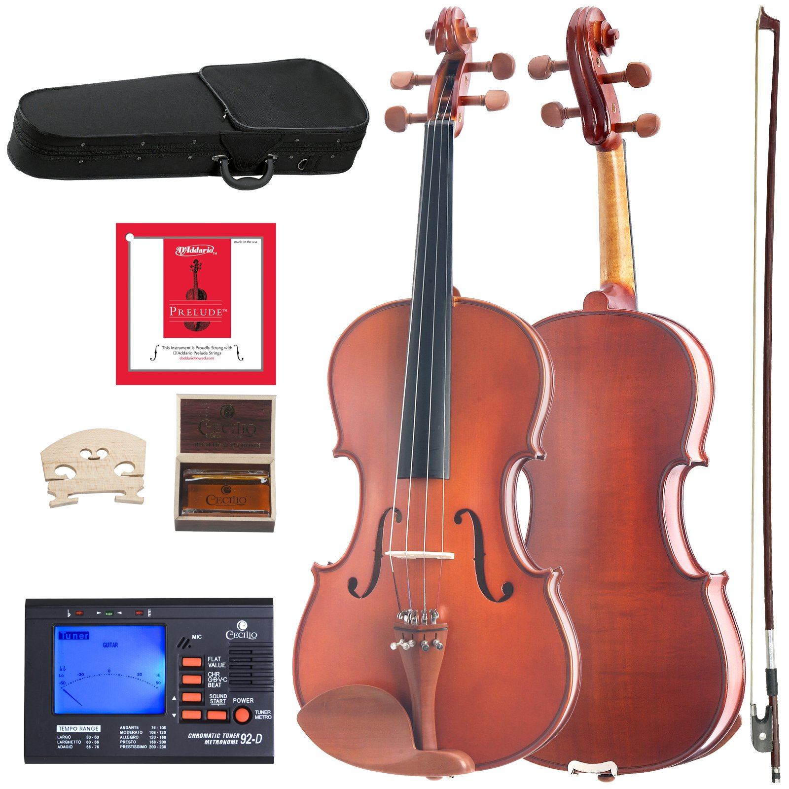 Cecilio CVA-400 Solidwood Viola with D'Addario Prelude Strings, Size 15-Inch