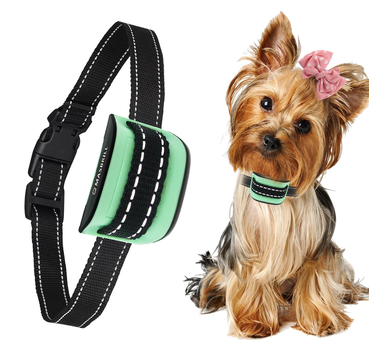 MASBRIL Dog Bark Collar - Upgrade 2019 Safe No Bark Control Device for Tiny Small Medium Dog-Stop Barking by Sound and Vibration- No Shock Human Way-Best Choice for Dog Lovers by MASBRILL