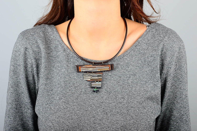 Handmade Designer Leather Pendant Unusual Stylish Accessory Female Pendant
