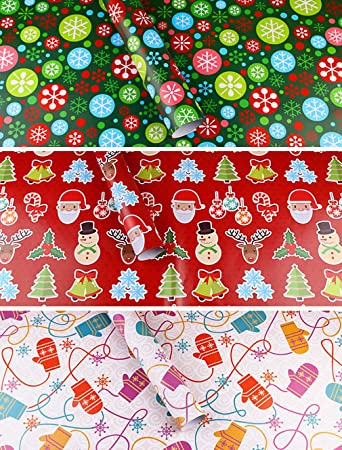 Amazon christmas holiday wrapping paper rolls 6pcsroll christmas holiday wrapping paper rolls 6pcsroll flower socks santa claus mightylinksfo