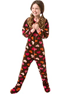 d981ff58a45 Big Feet Pjs Kids Footed Onesie Chocolate Brown with Hearts Footed Pajamas