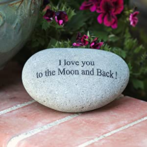 Garden Age Supply I Love You to The Moon and Back Engraved Quotes Stones Inspirational Sandblast Stone, Perfect Gorgeous Unique Gift Ideas, Natural Beach Pebble Rock