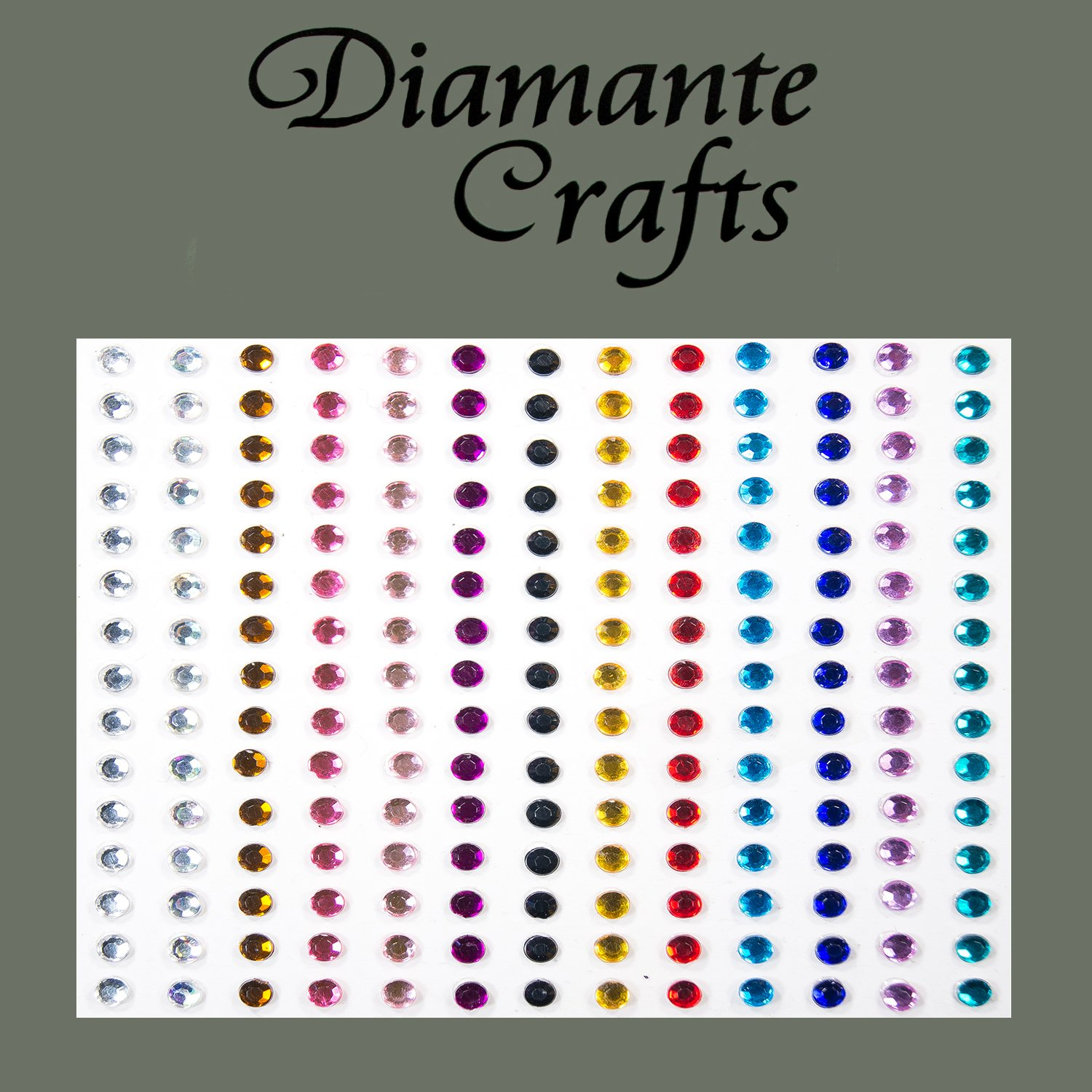 195 x 3mm Mixed Colour Diamante Self Adhesive Rhinestone Body Vajazzle Gems - created exclusively for Diamante Crafts