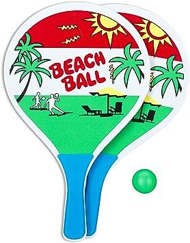 Relaxdays Set 2 Palas Playa con Pelota de Goma, A Partir de 3 Años ...