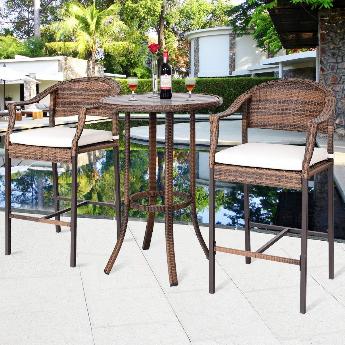Amazon com tangkula patio bar set 3 piece wicker rattan all weahter durable poolside balcony garden furniture bar height outdoor table and chairs set