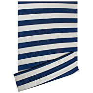 "DII Contemporary Indoor/Outdoor Lightweight Reversible Fade Resistant Area Rug, Great For Patio, Deck, Backyard, Picnic, Beach, Camping, & BBQ, 4 x 6', Navy/White 3.5"" Stripe"