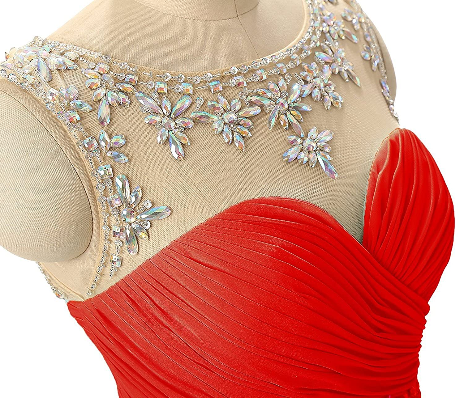 a981bdb5d142 Women's Beaded Short Homecoming Dresses for Juniors Chiffon Prom Dresses  2018 at Amazon Women's Clothing store: