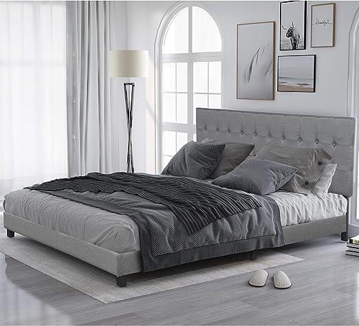 Amazon Com King Bed Frame Upholstered Platform Bed With