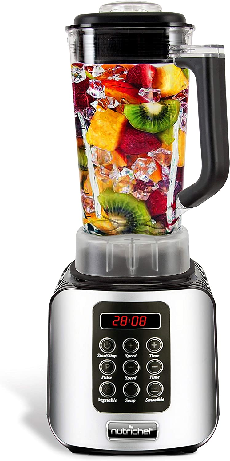 Digital Electric Kitchen Countertop Blender - Professional 1.7 Liter Capacity Home Food Processor Compact Blender for Shakes and Smoothies