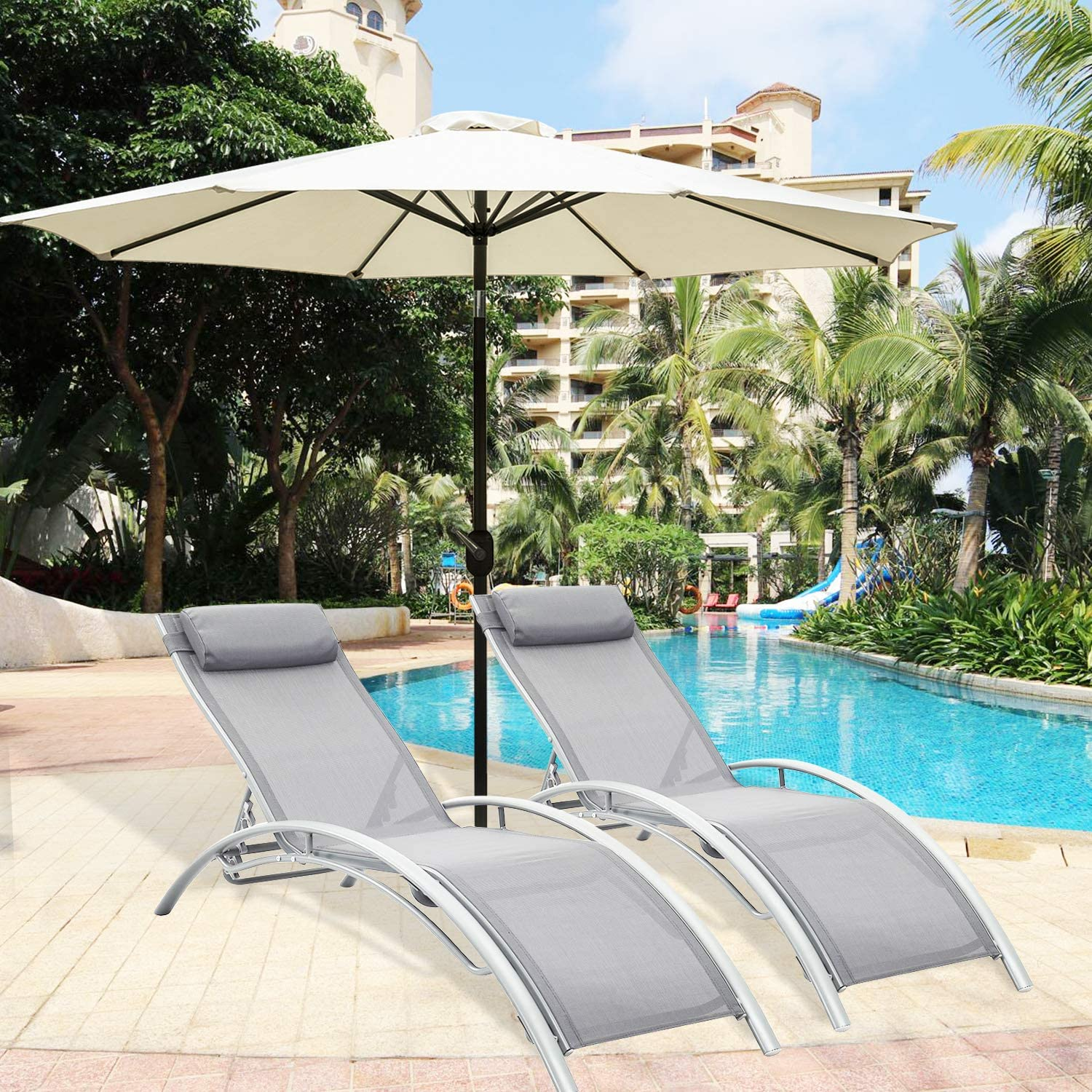 2 PCS White Aluminum Adjustable Chaise Lounge Chairs Outdoor with Pillow Zero Gravity