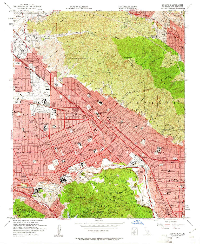 Amazon.com : YellowMaps Burbank CA topo map, 1:24000 Scale ...