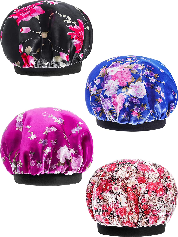 SATINIOR 4 Pieces Soft Satin Sleeping Cap Salon Bonnet Night Sleep Hat Hair Loss Cap (Slim Band)