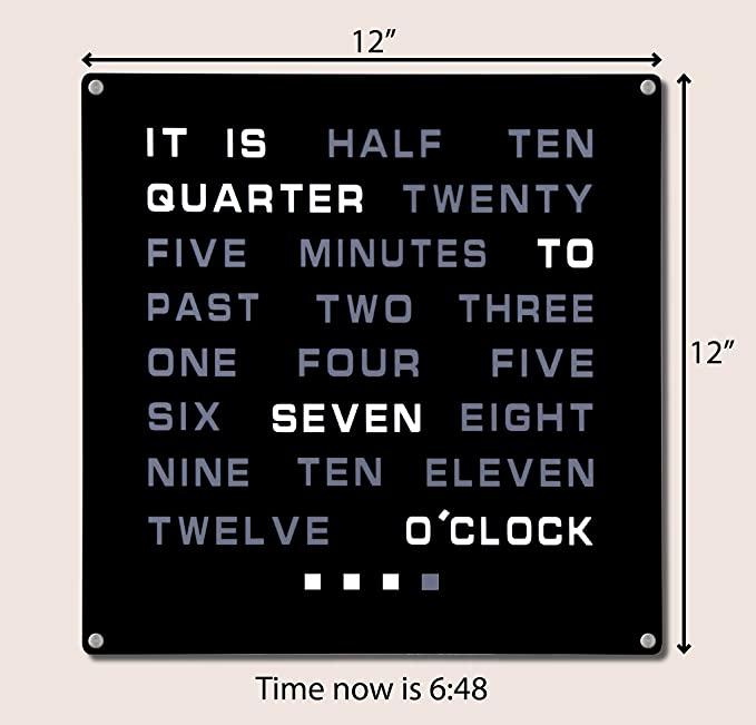 Reloj de pared de palabras LED, muestra la hora en texto (en inglés), 30,5 x 30,5 cm: Amazon.es: Hogar