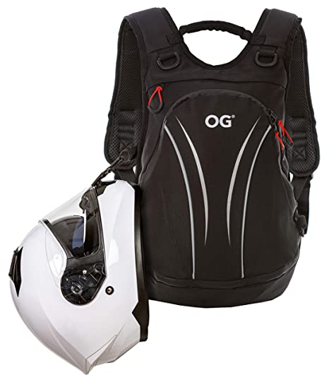 OG Online&Go Mochila Moto Negra Ligera 20L-30L, Bolsa Portacascos, Correa Casco Moto, Mochila Ciclismo, Antirrobo, Impermeable, Portátil, Reflectante