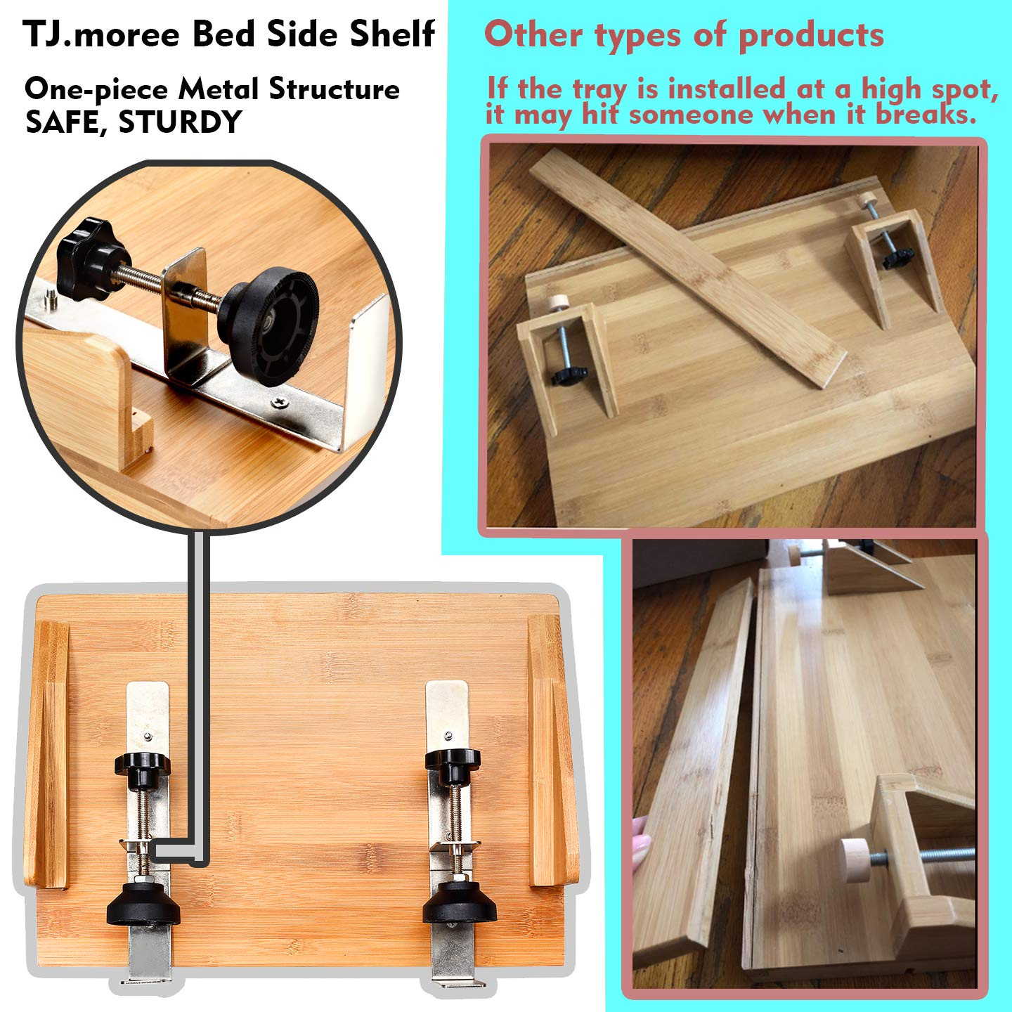 Lofts Beds Bedside Caddy Table Shelf Organizer Non Slip Bamboo Floating Nightstand For Bunk Beds College