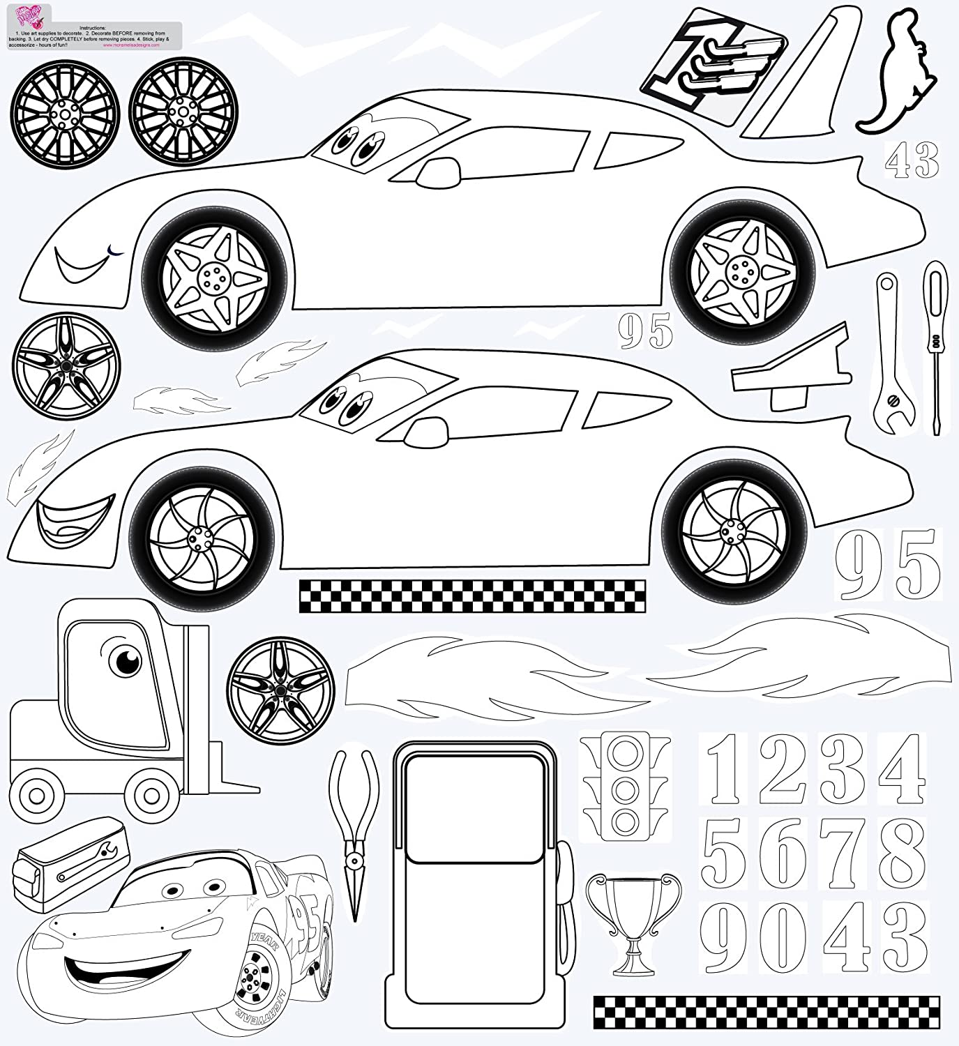 Race Car COLORRACE Mona Melisa Designs Color Me Peel and Stick Wall Decorative Stickers