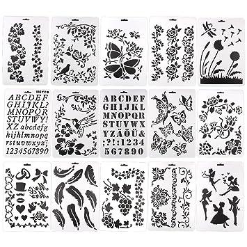 15 Conjuntos diseño de letras/Flores/Mariposas, reutilizable artista ...