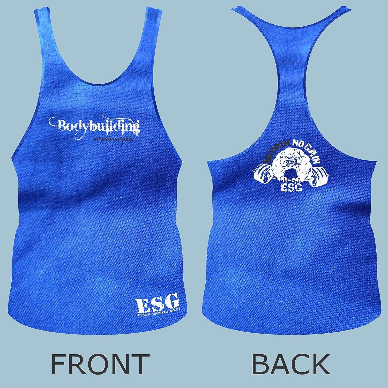 Blue Thin Back Eagle Sports Gear Premium Quality ESG Body Building Vest No Pain No Gain