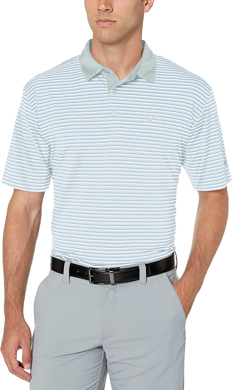 Callaway Mens Chest-Striped Blocked Polo Short Sleeve