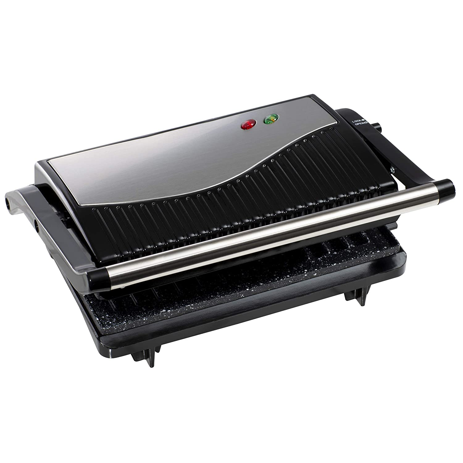 Skid Resistant Feet On /& Ready Light Indicators-750W Power Cool Touch Plastic Handle Easy Clean Non-Stick Plates Opens 90/° /& 180/° Silver Daewoo SDA1574GE Mini Panini Press