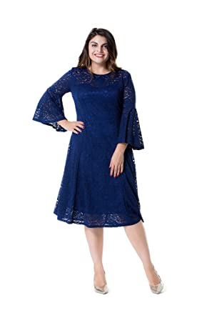 Esprlia Womens Plus Size Floral Lace With Bell Sleeves Midi A Line