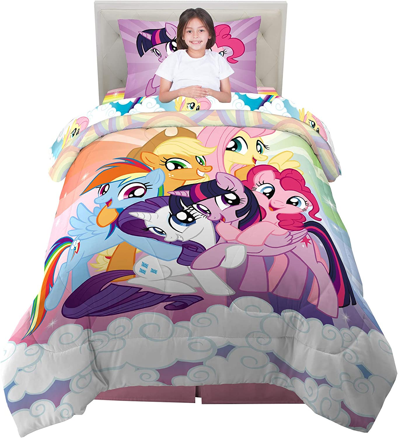 Copriletto My Little Pony.Amazon Com Kitchen Designers Franco Kids Bedding Super Soft Comforter And Sheet Set 4 Piece Twin Size My Little Pony Home Kitchen