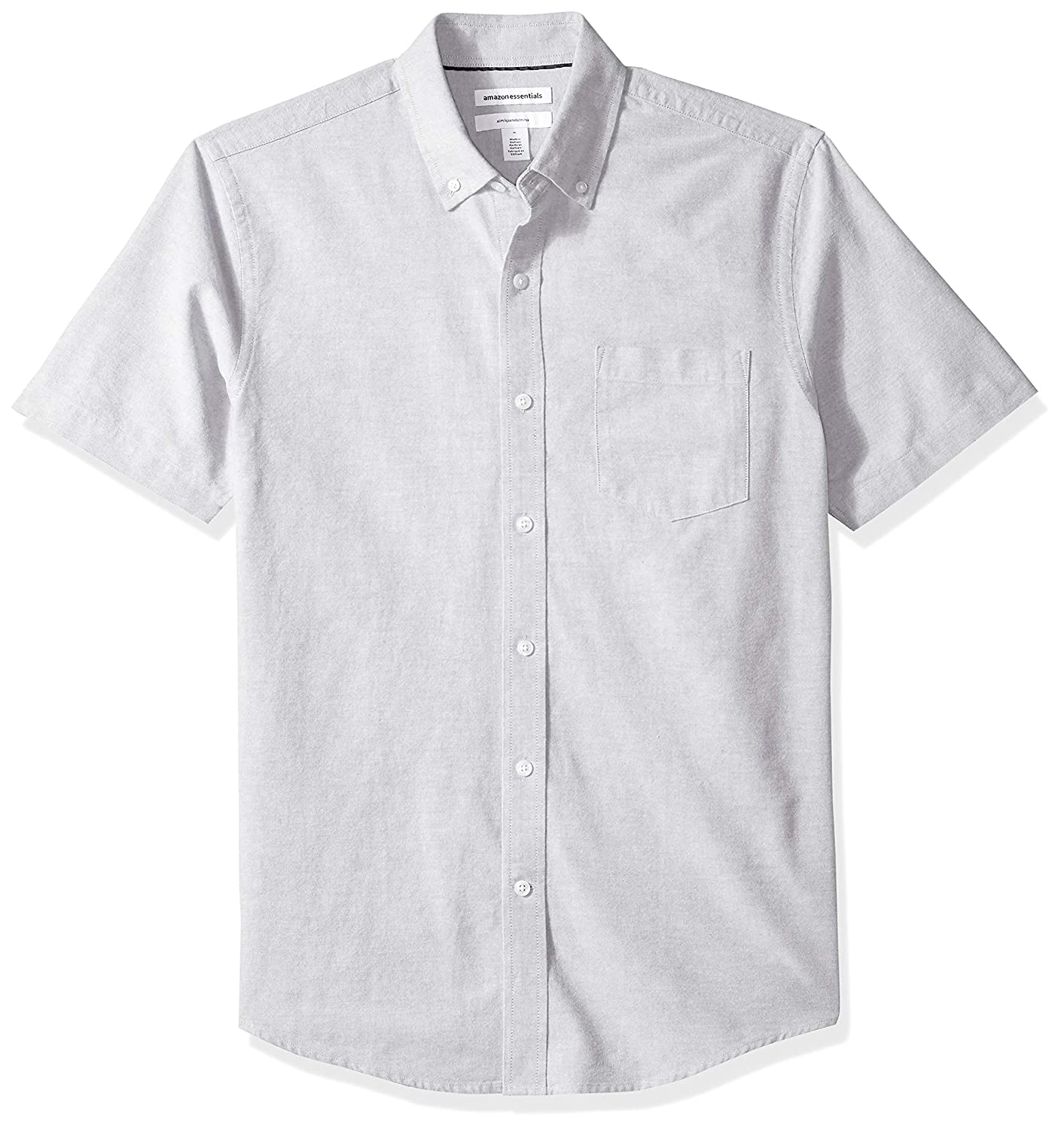 Essentials Slim-fit Short-Sleeve Solid Pocket Oxford