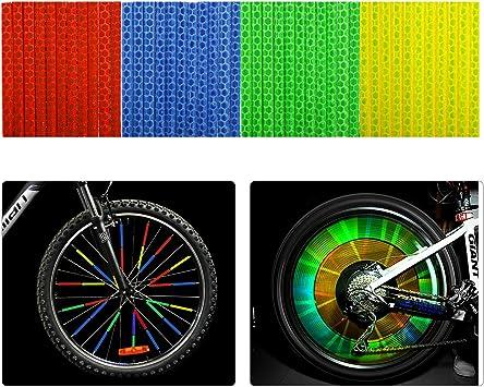 Tagvo bicicleta Spoke reflector 4 unidades/48 piezas (12 x azul + 12 x verde + 12 x rojo + 12 x amarillo) para bicicleta Ciclismo reflectante clips para niños adultos: Amazon.es: Deportes y aire libre