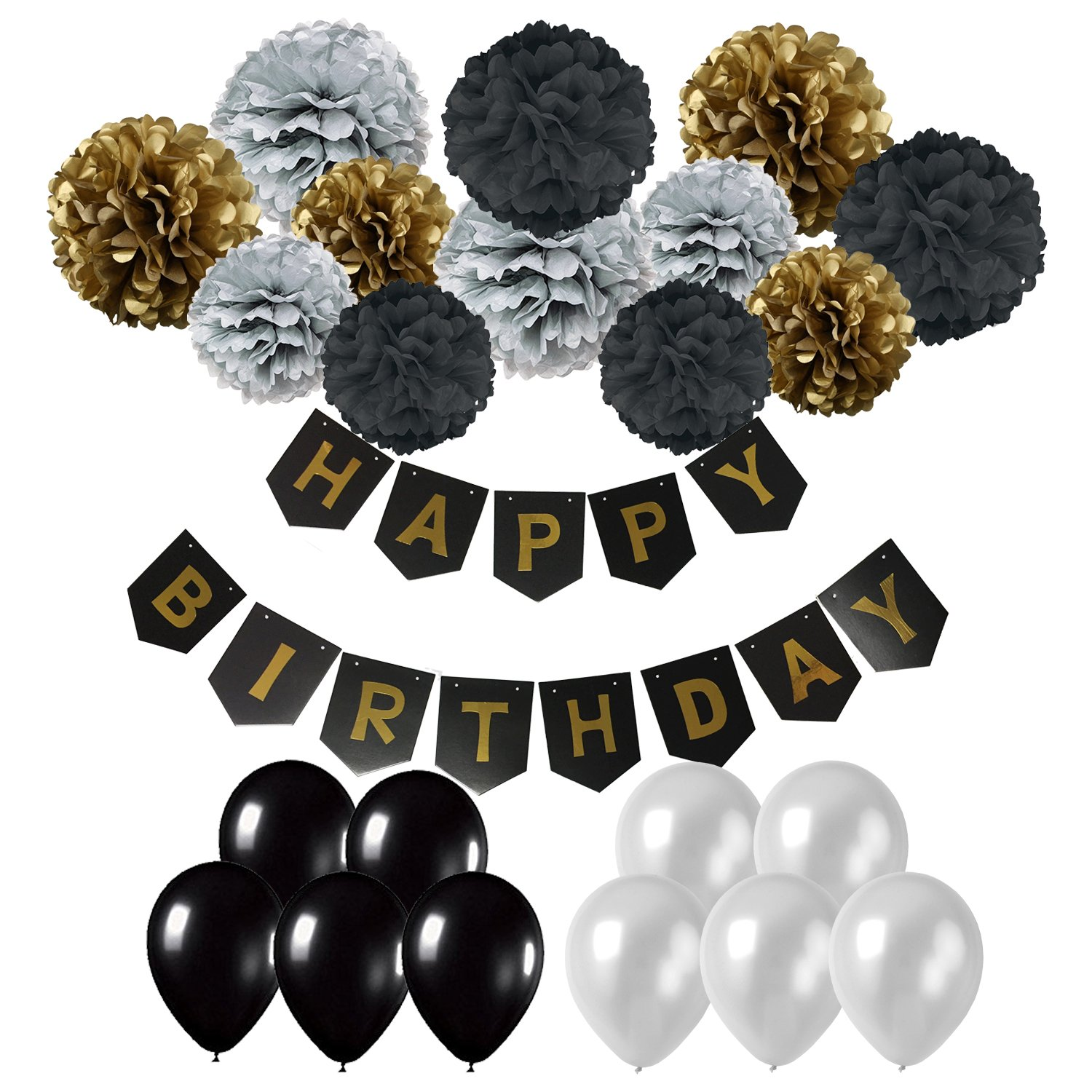 Cocodeko Happy Birthday Banner, Birthday Bunting Paper Garland with 12pcs Tissue Paper Pom Poms and 20pcs Balloons for Birthday Party Decorations - Black, Gold and Silver by Cocodeko