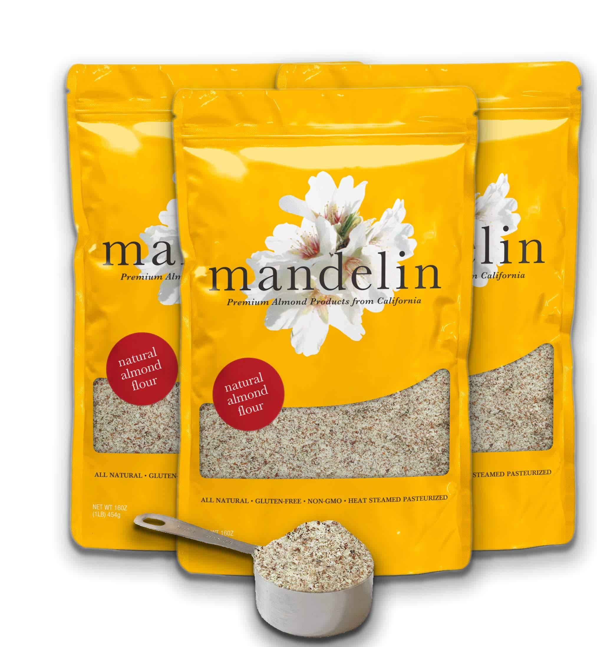 Mandelin Fresh Natural Almond Flour - 100% Almond Flour / Meal, With Skin, Super Fine Mill, Non-GMO, Gluten Free, Vegan, Keto, Plant Based Diet Friendly (3 lb)
