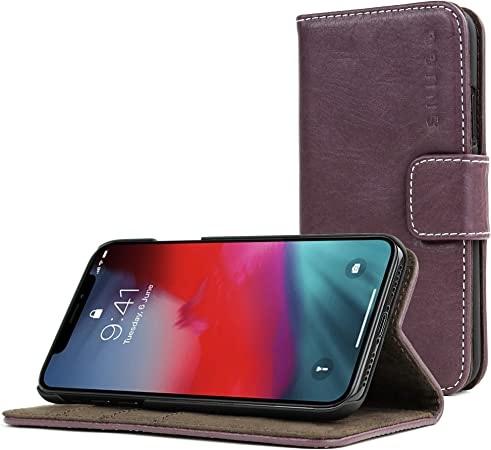 Leather Cover Compatible with iPhone X Purple Wallet Case for iPhone X