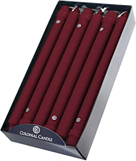product image for Colonial Candle Classic Taper Candle, Traditional Cranberry, 12 In, Pack of 12