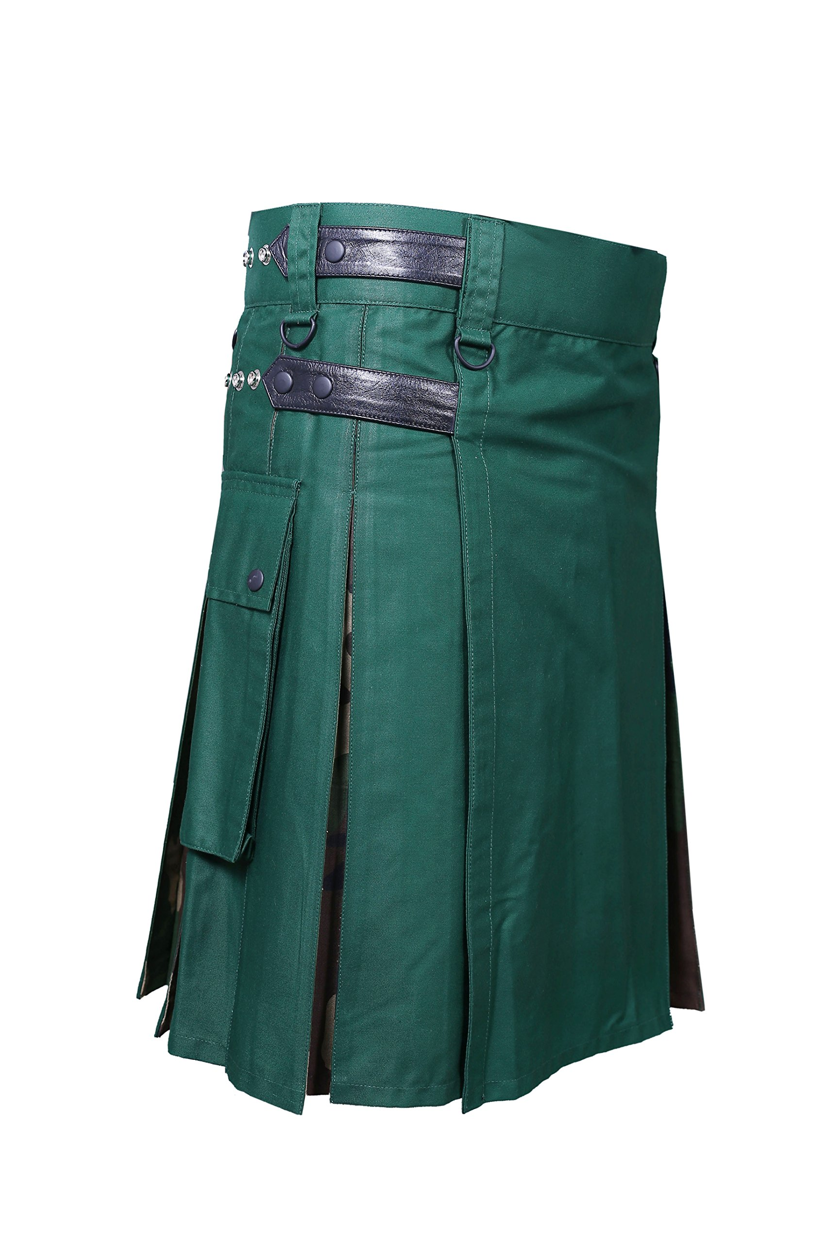 Forest Green & Camouflage Utility Kilt (Belly Button Measurements 32)