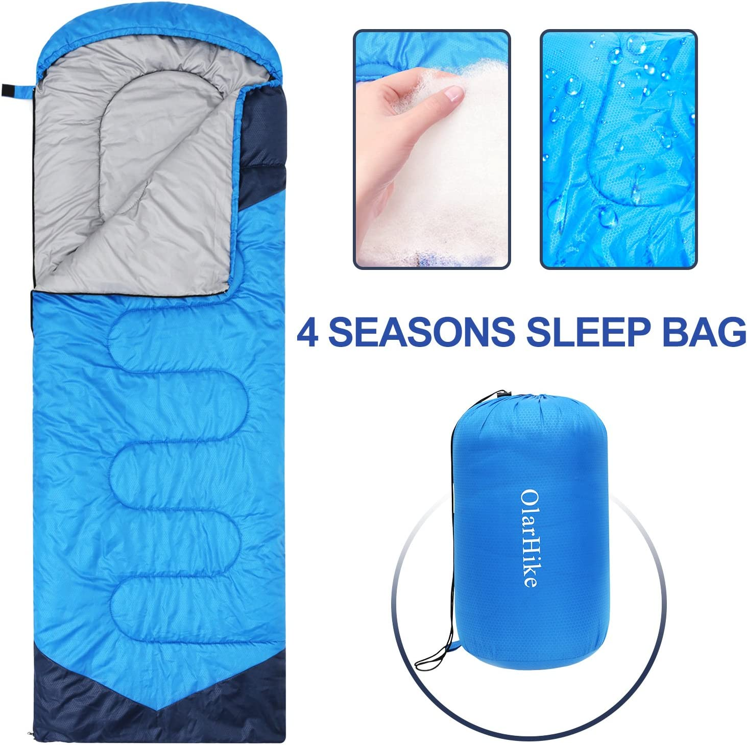 2.4 lbs ATEPA Backpacking Lightweight Compact Sleeping Bag Hiking Warm Weather Summer Sleeping Bag with Compression Sack for Camping Boys Men Waterproof Outdoor Youth Girls Women for Adults