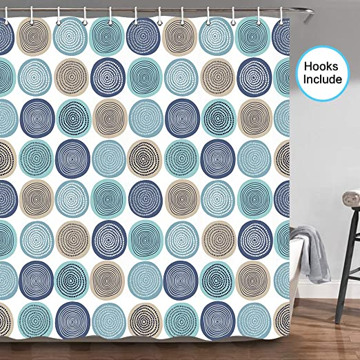 Metal//Ceramic Hooks//Rings New Modern Design Printed Fabric Shower//Bath Curtain