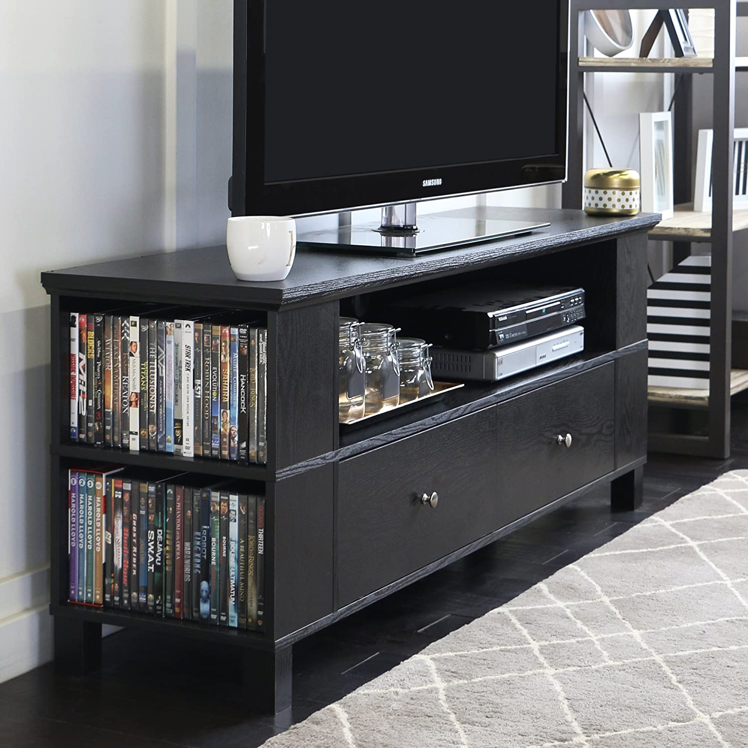 cheap for discount ab445 e5f7d New 59 Inch Wide Black Television Stand with Front & Side Storage
